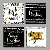 Set of Merry Christmas and Happy New Year card template. Hand drawn textures, lettering. Gold tinsel, black, white colors. Holiday Royalty Free Stock Photography