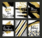 Set of Merry Christmas and Happy New Year card template. Hand drawn textures, lettering. Golden metallic, black, white colors. Hol Royalty Free Stock Photography