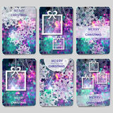 Set of 6 Merry Christmas and Happy New Year card. Royalty Free Stock Photography