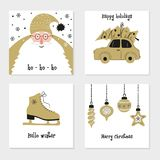 Set with Merry Christmas and Happy New Year cards. royalty free illustration