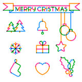 Set of Merry Christmas and Happy New Year colorful icons. Vector Stock Images
