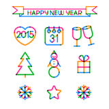 Set of Merry Christmas and Happy New Year colorful icons. Vector Royalty Free Stock Image