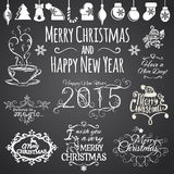 Set of Merry Christmas and Happy New Year design Royalty Free Stock Photo