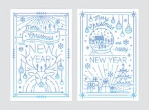 Set of Merry Christmas and Happy New Year festive greeting card or postcard templates with holiday decorations drawn. With blue contour lines on white Stock Photos