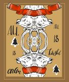 Set of merry christmas happy new year gold ornament decoration template designs with deer and celebration elements. Hand drawn vector abstract Christmas greeting Royalty Free Stock Photo