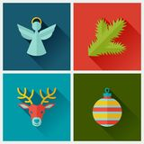 Set of Merry Christmas and Happy New Year icons Royalty Free Stock Images