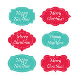 Set of merry christmas and happy new year labels. EPS stock illustration