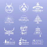 Set of Merry Christmas and Happy New Year Logo Icon. Christmas Logo Kit For Your Design Such as Greeting Card, Invitation, Sticker and Emblem. Vector vector illustration