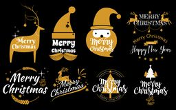 Set of Merry Christmas and Happy New Year stamp, sticker Set qu. Otes with snowflakes, snowman, santa claus, candy, sweet candy, cookies. Vector. Vintage royalty free illustration