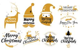 Set of Merry Christmas and Happy New Year stamp, sticker Set qu. Otes with snowflakes, snowman, santa claus, candy, sweet candy, cookies. Vector. Vintage vector illustration