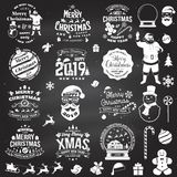 Set of Merry Christmas and Happy New Year stamp, sticker set with snowflakes, hanging christmas ball, santa hat, candy. Set of Merry Christmas and 2019 Happy royalty free illustration