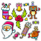 Set of Merry Christmas and Happy New Year stickers or magnets. Festive souvenirs. Hipster style Royalty Free Stock Images