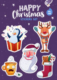 Set of Merry Christmas and Happy New Year stickers or magnets. Festive souvenirs Royalty Free Stock Photo