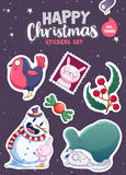 Set of Merry Christmas and Happy New Year stickers or magnets. Festive souvenirs vector illustration