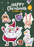 Set of Merry Christmas and Happy New Year stickers or magnets. Festive souvenirs stock illustration