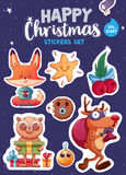 Set of Merry Christmas and Happy New Year stickers or magnets. Festive souvenirs royalty free illustration