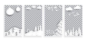 Set of Merry Christmas and Happy New Year template mobile social stories. Universal Editable Instagram cards in trendy style with Hand Drawn textures for stock illustration