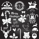 Set of Merry Christmas and Happy New Year 2017 typography design. Royalty Free Stock Image