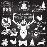 Set of Merry Christmas and Happy New Year 2017 typography design. Royalty Free Stock Photos