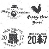 Set of Merry Christmas and Happy New Year 2017 typography design Stock Image