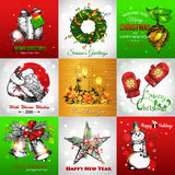 Set of Merry Christmas and Happy New Year vintage Royalty Free Stock Photos
