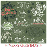 Set of Merry Christmas headlines on green Royalty Free Stock Images