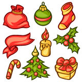 Set of Merry Christmas holiday symbols and object Stock Photo