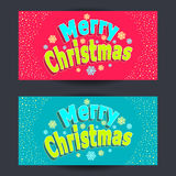 Set Merry Christmas horizontal banners in cartoon  style  on red  and on blue Royalty Free Stock Photos