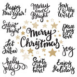 Set of Merry Christmas lettering. Royalty Free Stock Photos