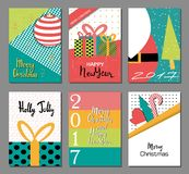 Set of Merry Christmas and New Year flat design greeting card, background, invitation, poster, flyer. Holidays elements. Noel,ball, gift, mitten Stock Images