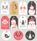 Set Merry Christmas and New Year gift tags and cards. Royalty Free Stock Photos