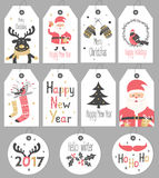 Set Merry Christmas and New Year gift tags and cards. Royalty Free Stock Image