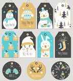 Set Merry Christmas and New Year gift tags and cards. Stock Image