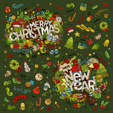 Set of Merry Christmas and New Year hand lettering. And doodles elements, symbols objects background Royalty Free Stock Image