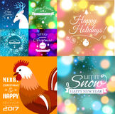 Set of Merry Christmas postcard with designed text. Vector illustration. Stock Photo