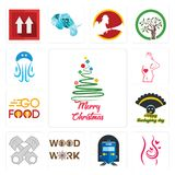 Set of merry christmas, pregnancy, train station, woodwork, piston log, thanksgiving, go food, maternity, jellyfish icons. Set Of 13 simple editable icons such Royalty Free Stock Photography