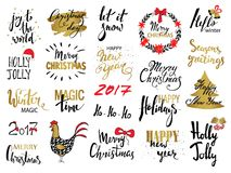 Set of Merry Christmas text, hand drawn lettering and Happy New Year typography design. For cards, invitations, posters, flyers, l. Ogos, emblems royalty free illustration