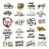 Set of Merry Christmas text, hand drawn lettering and Happy New Year typography design. For cards, invitations, posters, flyers, logos, emblems Stock Images