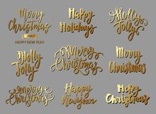 Set of Merry Christmas text, hand drawn lettering and Happy New Year typography design. For cards, invitations, posters, flyers, logos, emblems stock illustration