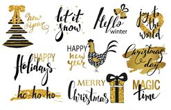 Set of Merry Christmas text, hand drawn lettering and Happy New Year typography design. For cards, invitations, posters. Flyers, logos, emblems vector illustration
