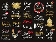 Set of Merry Christmas text, hand drawn lettering and Happy New Year typography design. For cards, invitations, posters Royalty Free Stock Photography