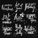 Set of Merry Christmas text, hand drawn lettering and Happy New Year typography design. For cards, invitations, posters, flyers, logos, emblems royalty free illustration