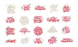 Set of Merry Christmas vintage calligraphy lettering vector text phrases with winter drawing scandinavian design vector illustration