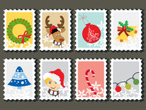 Set of merry xmas stamp Royalty Free Stock Photo
