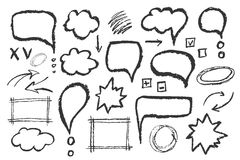 Set of message bubbles. Hand drawn vector sketch speech illustration Stock Photography