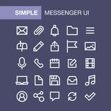Set of messenger icons for simple flat style ui design.  Stock Photos