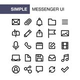 Set of messenger icons for simple flat style ui design.  Stock Image