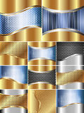 Set of metal backgrounds. Set of backgrounds with metal grille and decorative inserts Royalty Free Stock Images