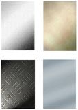 Set of 4 metal backgrounds Royalty Free Stock Image
