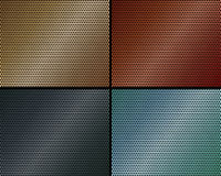 A set of metal backgrounds of perforated metal Royalty Free Stock Images